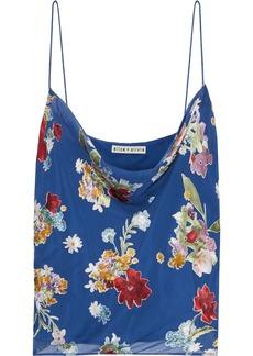 Alice + Olivia Woman Harmon Draped Floral-print Burnout Chiffon Camisole Cobalt Blue
