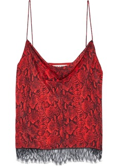 Alice + Olivia Woman Harmon Layered Snake-print Silk Crepe De Chine And Chantilly Lace Camisole Red