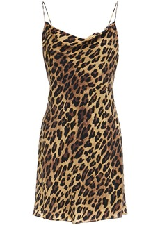 Alice + Olivia Woman Harmony Draped Leopard-print Cupro Mini Dress Animal Print