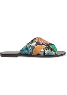 Alice + Olivia Woman Harrieta Snake-effect Leather Slides Multicolor