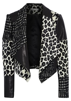 Alice + Olivia Woman Harvey Wool-blend Jacquard Tweed Jersey And Leather Jacket Black