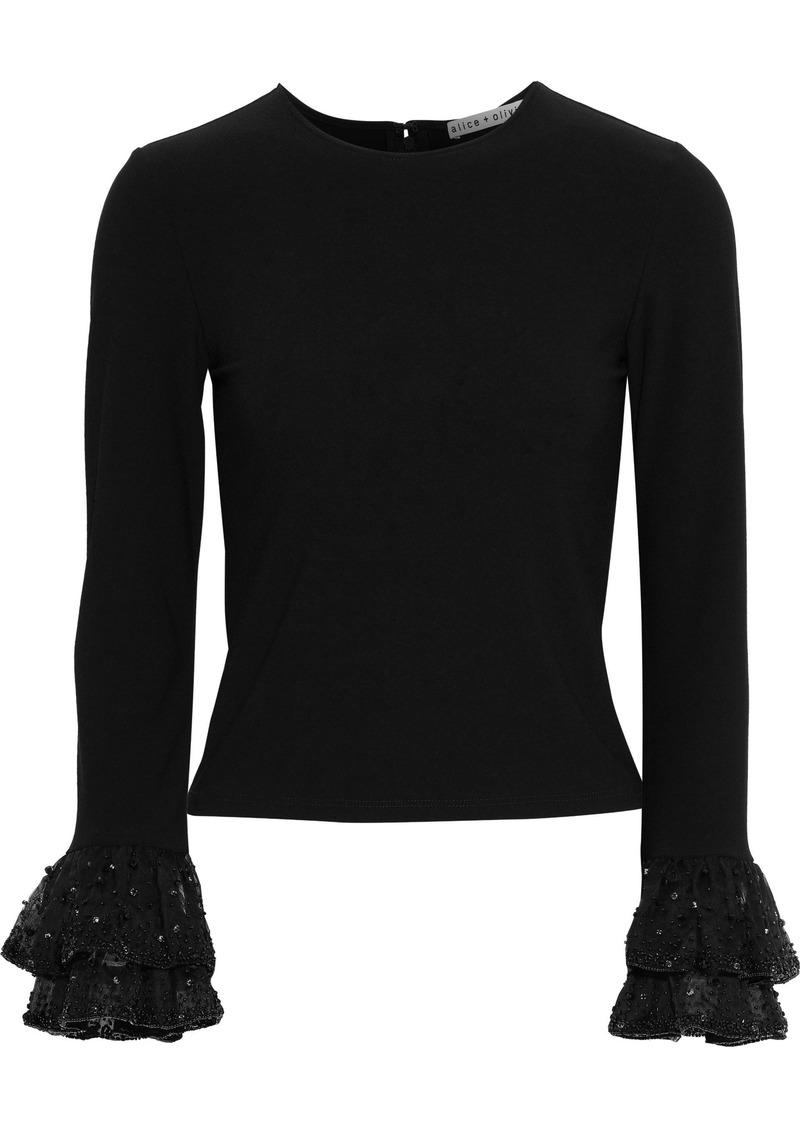Alice + Olivia Woman Haylen Embellished Organza-trimmed Stretch-knit Top Black