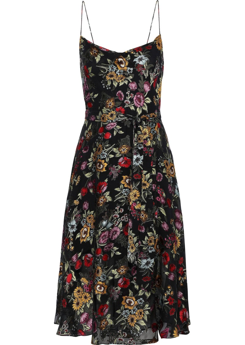 Alice + Olivia Woman Heather Wrap-effect Floral-print Fil Coupé Chiffon Dress Black
