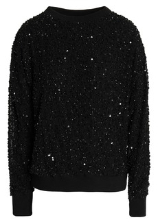 Alice + Olivia Woman Helen Sequined Stretch-knit Sweatshirt Black