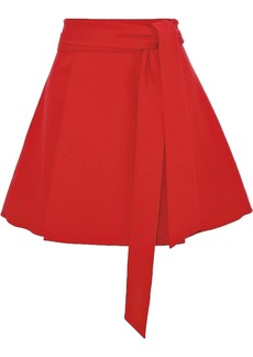 Alice + Olivia Woman Helina Tie-front Crepe Mini Skirt Red