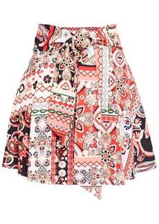 Alice + Olivia Woman Helinda Belted Printed Crepe Mini Skirt Multicolor