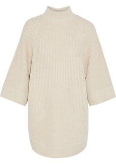 Alice + Olivia Woman Herma Oversized Knitted Turtleneck Sweater Beige