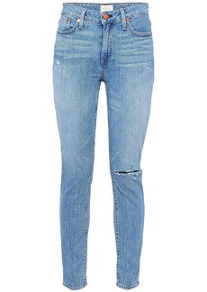Alice + Olivia Woman High-rise Distressed Skinny Jeans Light Denim