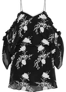 Alice + Olivia Woman Holden Cold-shoulder Embroidered Georgette Mini Dress Black