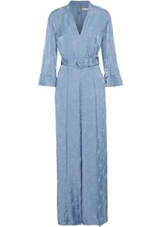 Alice + Olivia Woman Holland Belted Satin-jacquard Jumpsuit Light Blue