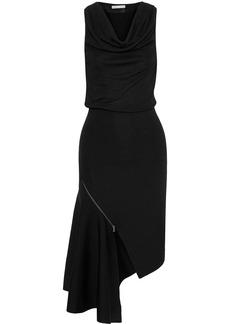 Alice + Olivia Woman Hollis Asymmetric Zip-detailed Stretch-knit Dress Black