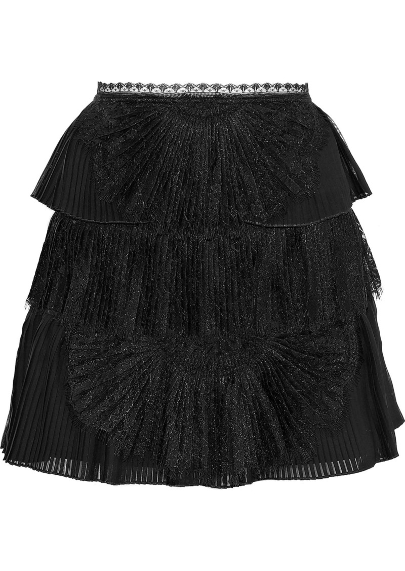 Alice + Olivia Woman Iggy Lace-paneled Pleated Tiered Organza Mini Skirt Black