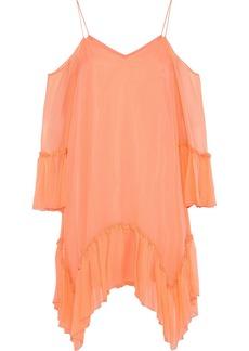 Alice + Olivia Woman Ilaria Cold-shoulder Silk-georgette Mini Dress Coral