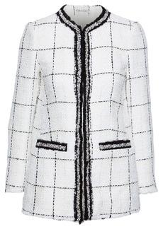 Alice + Olivia Woman Indira Embellished Checked Tweed Jacket White