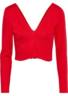 Alice + Olivia Woman Ines Cropped Ponte Top Red