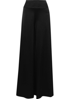 Alice + Olivia Woman Iyanna Satin-crepe Wide-leg Pants Black