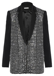 Alice + Olivia Woman Jace Crystal-embellished Crepe Jacket Black