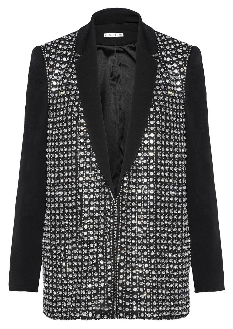 Alice + Olivia Woman Jace Crystal-embellished Crepe Jacket Black