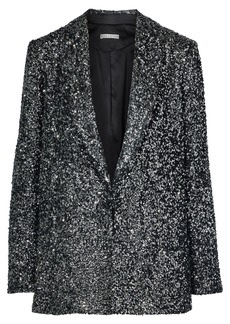 Alice + Olivia Woman Jace Oversized Sequined Silk Blazer Gunmetal