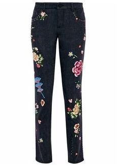 Alice + Olivia Woman Jane Embellished Mid-rise Slim-leg Jeans Dark Denim