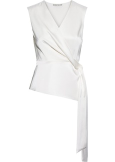 Alice + Olivia Woman Janet Draped Satin Wrap Top Off-white