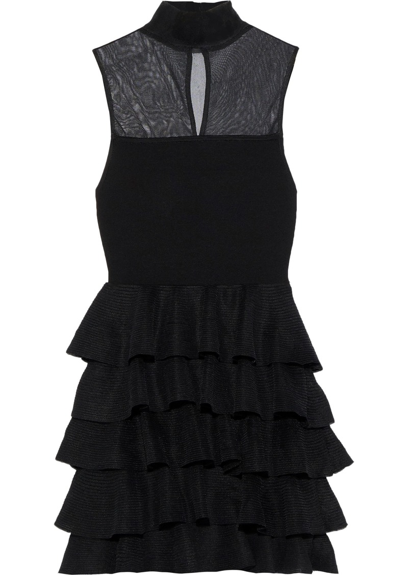 Alice + Olivia Woman Janice Mesh-paneled Tiered Stretch-knit Mini Dress Black