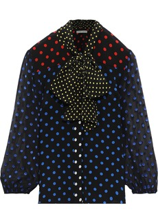 Alice + Olivia Woman Jeannie Fil Coupé Chiffon-paneled Polka-dot Silk Crepe De Chine Blouse Black