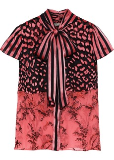 Alice + Olivia Woman Jeannie Pussy-bow Burnout Silk-blend Satin Blouse Pink