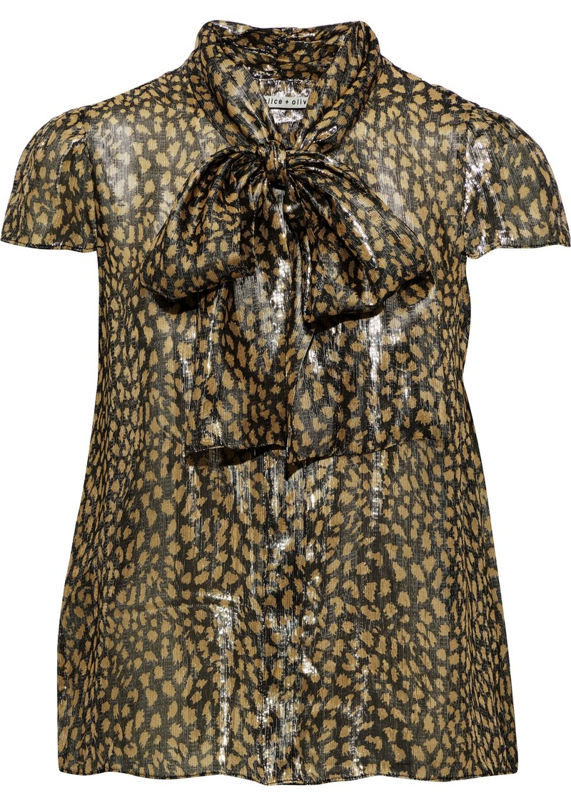 Alice + Olivia Woman Jeannie Pussy-bow Printed Silk-blend Lamé Blouse Gold