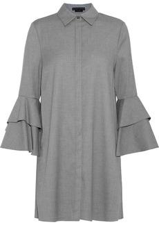 Alice + Olivia Woman Jem Tiered Twill Mini Shirt Dress Gray
