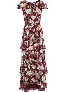 Alice + Olivia Woman Jenny Tiered Floral-print Fil Coupé Chiffon Maxi Dress Burgundy