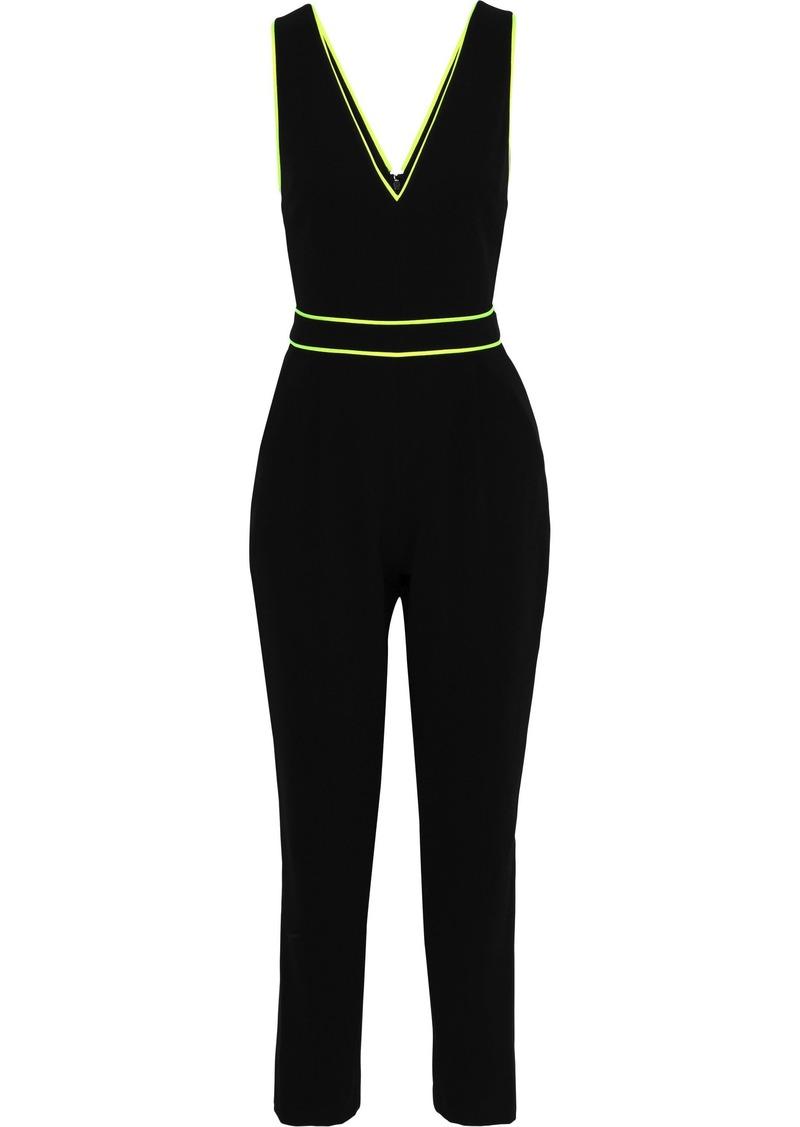 Alice + Olivia Woman Jeri Neon-trimmed Cady Jumpsuit Black