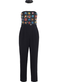 Alice + Olivia Woman Jeri Strapless Embellished Crepe Jumpsuit Black