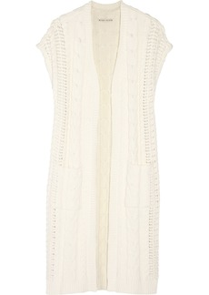 Alice + Olivia Woman Jodi Cable-knit Cotton-blend Cardigan Ivory