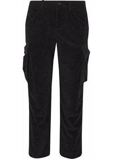 Alice + Olivia Woman Johnsie Cropped Corduroy Straight-leg Pants Black