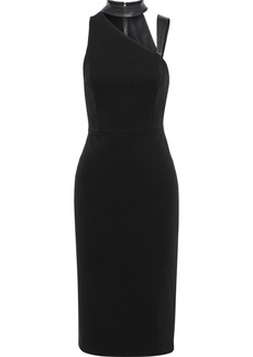 Alice + Olivia Woman Jona Cutout Leather-trimmed Cady Dress Black