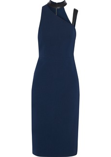 Alice + Olivia Woman Jona Cutout Leather-trimmed Cady Dress Navy
