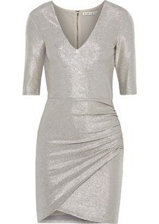 Alice + Olivia Woman Judy Ruched Textured Stretch-lamé Mini Dress Gray
