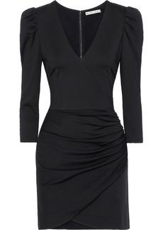 Alice + Olivia Woman Judy Wrap-effect Ruched Stretch-jersey Mini Dress Black