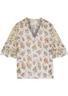 Alice + Olivia Woman Julius Floral-print Cotton And Silk-blend Blouse Ivory