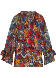 Alice + Olivia Woman Julius Floral-print Crepe De Chine And Georgette Blouse Red