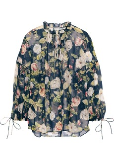 Alice + Olivia Woman Julius Floral-print Silk-chiffon Blouse Navy