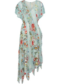 Alice + Olivia Woman Kadence Corded Lace And Floral-print Silk-georgette Midi Dress Sky Blue