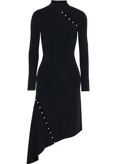 Alice + Olivia Woman Kam Asymmetric Cutout Embellished Stretch-knit Dress Black