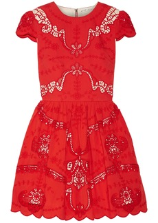Alice + Olivia Woman Karen Broderie Anglaise Cotton Mini Dress Red