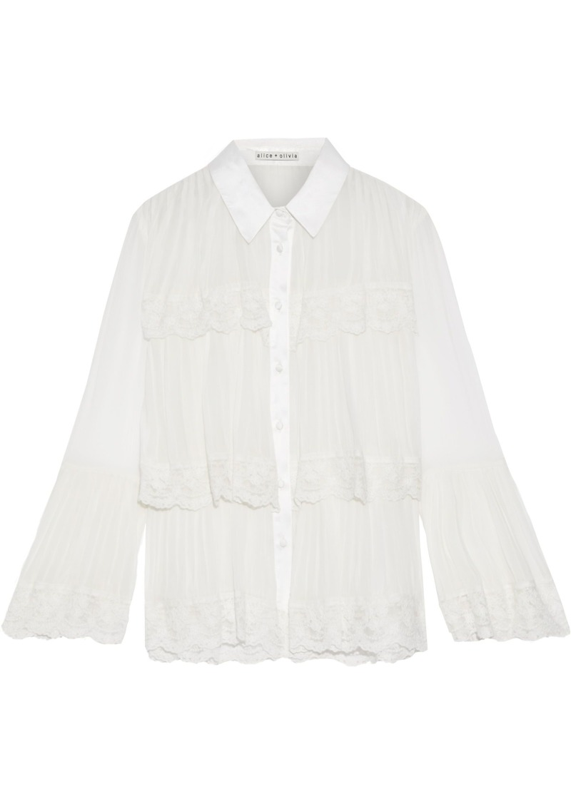 Alice + Olivia Woman Kartwright Embroidered Tulle-trimmed Tiered Pleated Georgette Blouse Off-white