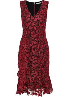 Alice + Olivia Woman Katia Fluted Guipure Lace Dress Burgundy