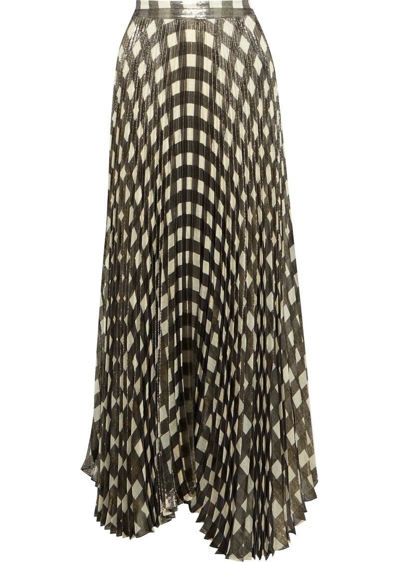 Alice + Olivia Woman Katz Checked Plissé Silk-blend Lamé Maxi Skirt Brass
