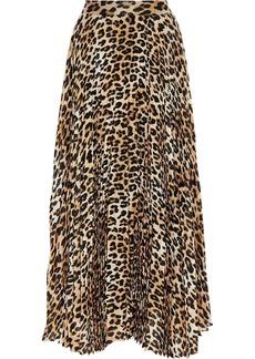 Alice + Olivia Woman Katz Pleated Leopard-print Silk-blend Chiffon Maxi Skirt Animal Print