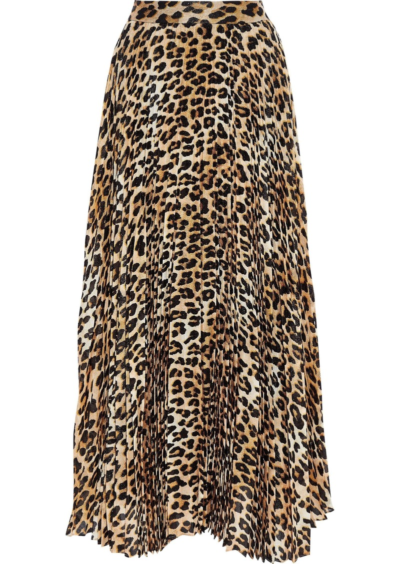 Alice + Olivia Woman Katz Pleated Leopard-print Silk-blend Chiffon Maxi Skirt Animal Print